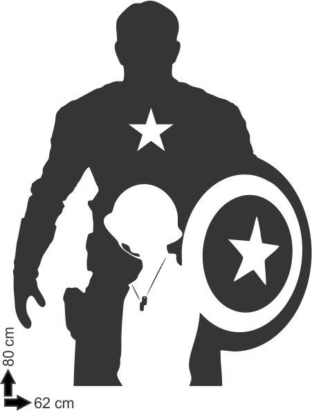 Adesivo De Parede Decorativo Heroi Escudo Capitao America R 49
