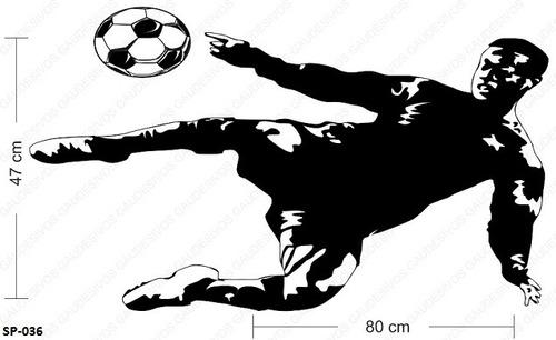 adesivo de parede decorativo jogador de futebol chutando