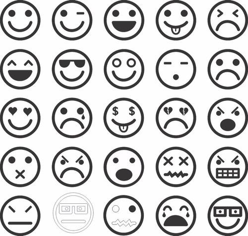 adesivo de parede decorativo kit com 25 emoticons divertidas