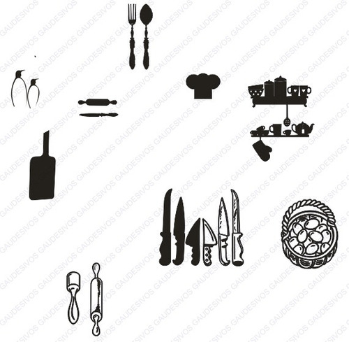 adesivo de parede decorativo kit cozinha - faca - talheres - copo