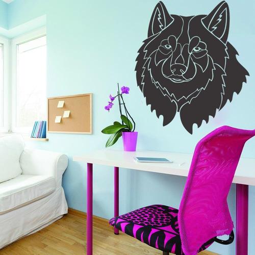 adesivo de parede decorativo lobo animal natureza 72x100cm