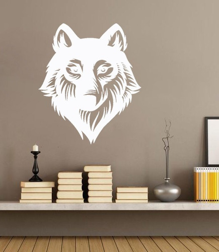 adesivo de parede decorativo lobo animal natureza 85x100cm