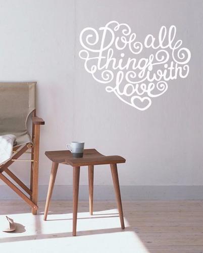adesivo de parede decorativo love escrito caligrafia amor