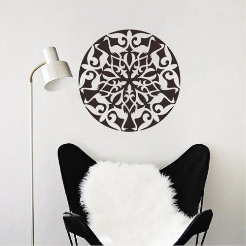 adesivo de parede decorativo mandala ave animal 80x80 cm