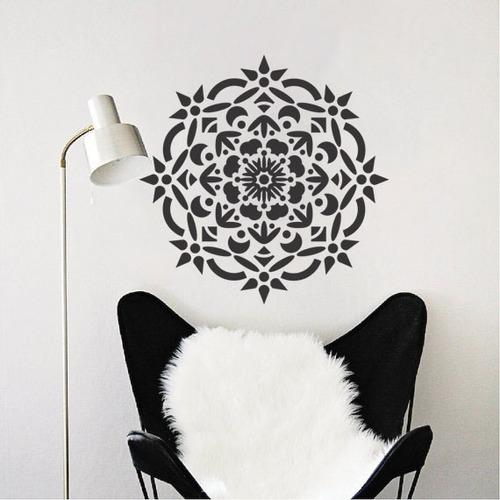 adesivo de parede decorativo mandala floral 80x80cm