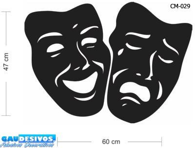 adesivo de parede decorativo máscaras de triste alegre, box