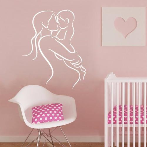 adesivo de parede decorativo mãe família bebê criança 100x80