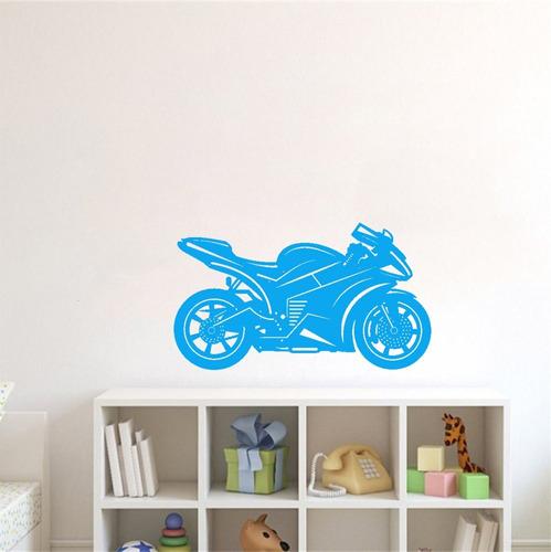 adesivo de parede decorativo moto motocicleta roda 60x105 cm
