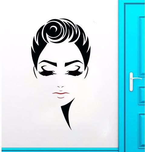 adesivo de parede decorativo mulher cabelo salão 90x48 cm