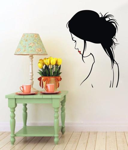 adesivo de parede decorativo mulher cabelo salão estética