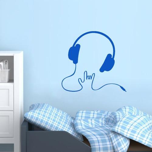 adesivo de parede decorativo música mão head fone 80x75cm
