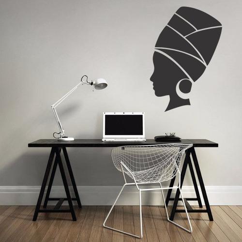 adesivo de parede decorativo negra africana mulher 55x80 cm