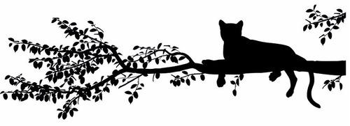 adesivo de parede decorativo onça, tigre no tronco da arvore