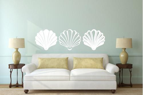 adesivo de parede decorativo praia mar água conchas 100x30cm