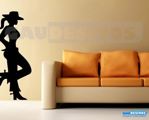 adesivo de parede decorativo silhueta mulher cowboy