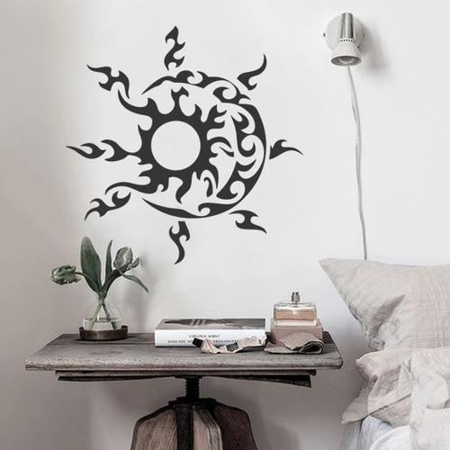 adesivo de parede decorativo sol lua tribal céu 70x70cm