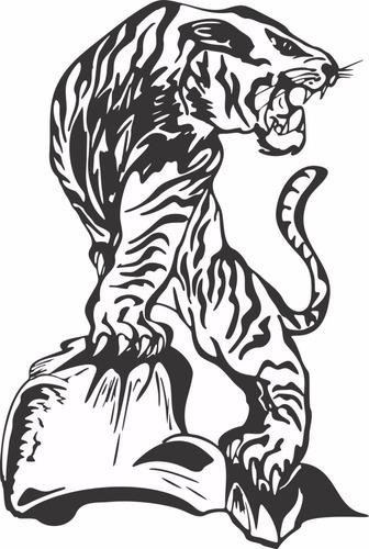 adesivo de parede decorativo tigre grande - felinos - gato