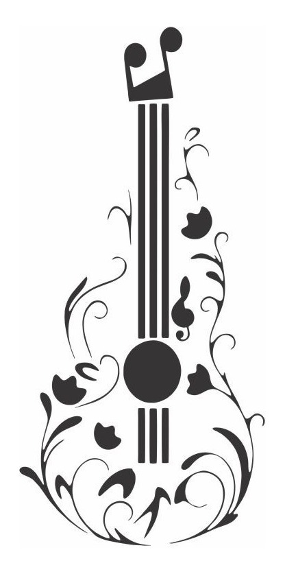 Adesivo De Parede Decorativo Violao Guitarra Acustica Tribal R
