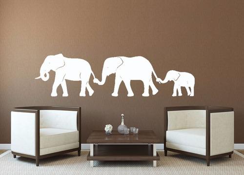 adesivo de parede elefante família animal natureza