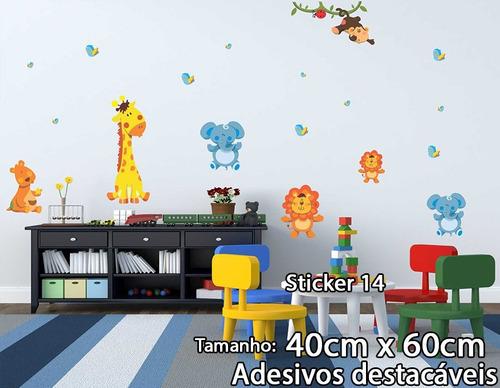 adesivo de parede elefantes passarinhos girafa leão joaninha