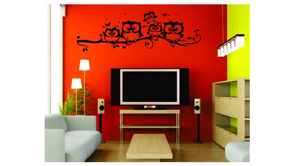 Adesivo De Parede Fam Lia Coruja Quarto Sala Grande R 55 99 Em  -> Adesivos Para Parede Sala De Tv