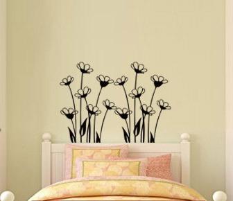 adesivo de parede flor cabeceira cama sala quarto 65x90cm
