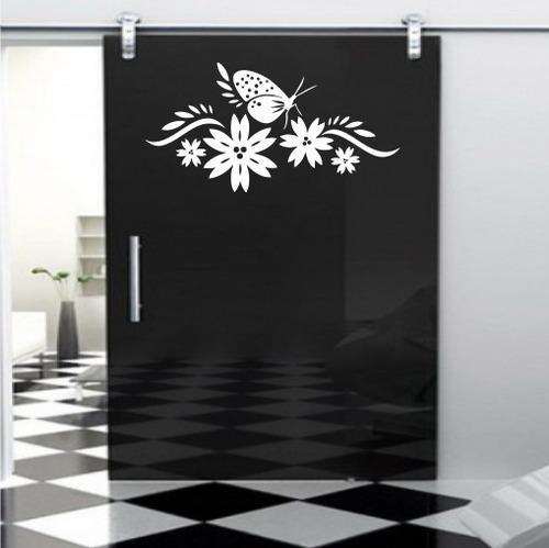 adesivo de parede florais borboletas natureza 80cm a446