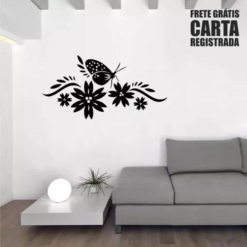 adesivo de parede florais borboletas natureza 96cm a447