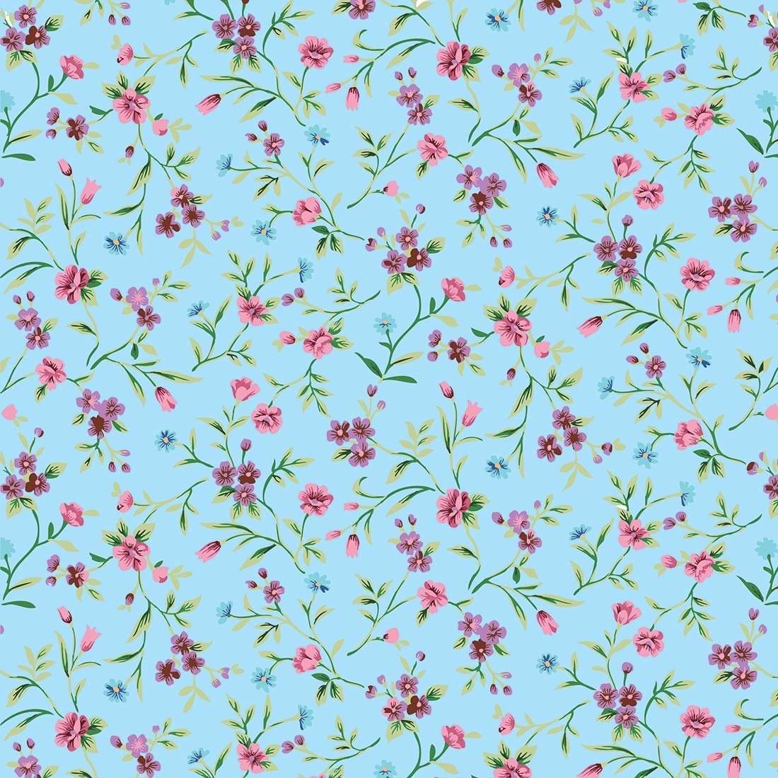 adesivo de parede flores delicadas fundo azul 310x58cm r 4990 em mercado livre