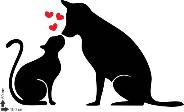 Adesivo De Parede Gato Coracao Veterinario Animal Cachorro R 48