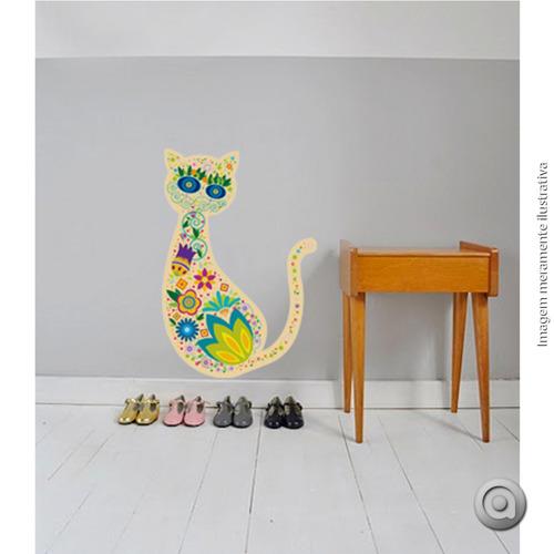 adesivo de parede haus for fun gato colorido_g 50x70 cm