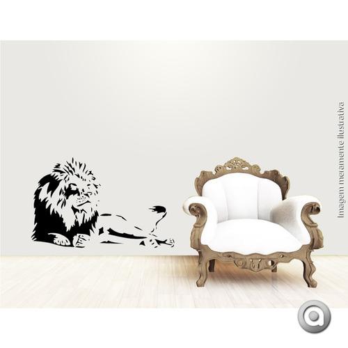 adesivo de parede haus for fun wild leão_g 93x60 cm