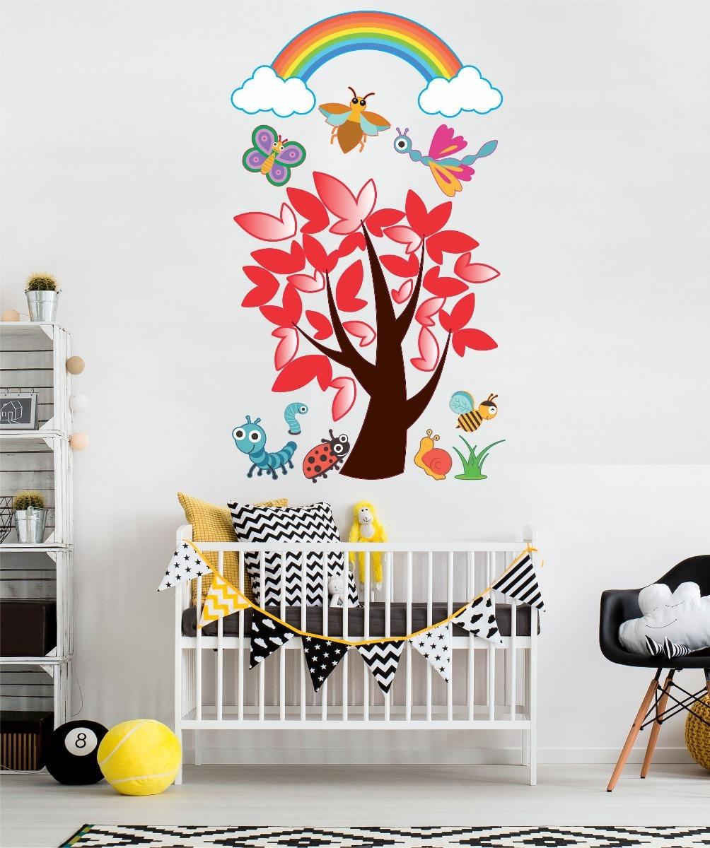 Adesivo De Parede Infantil Bebe Floresta Arco Iris Arvore R  ~ Paredes De Gesso Para Quarto E Quarto De Bebe Floresta