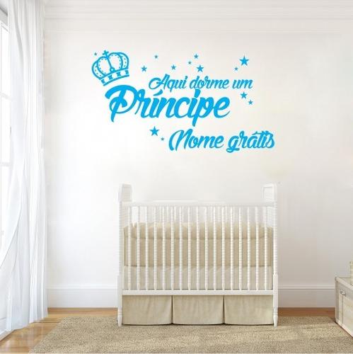 adesivo de parede infantil dorme o príncipe nome 100cm a992