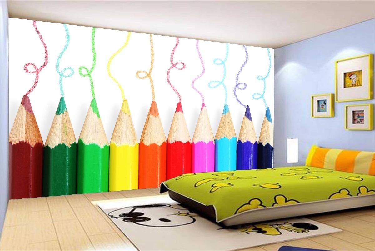 Adesivo de parede infantil lapis colorido cor baby m - Papel infantil para paredes ...