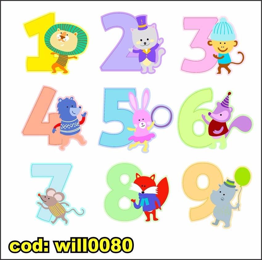 Aparador Estreito Para Sala ~ Adesivo De Parede Infantil Números Com Animais Will0080 R$ 120,27 em Mercado Livre