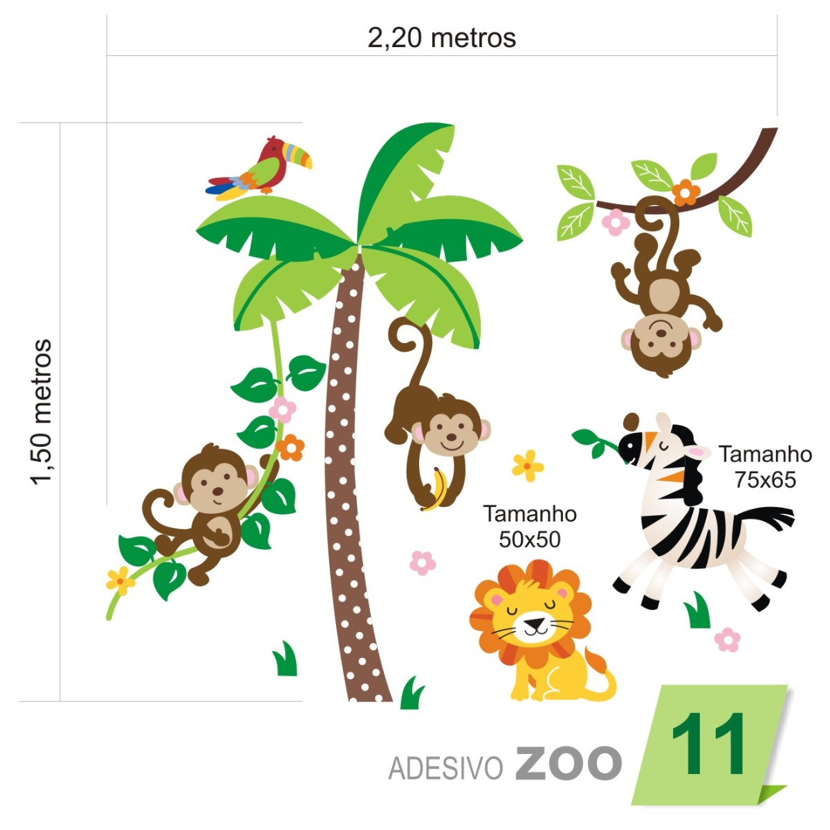 Artesanato Sobre Halloween ~ Adesivo De Parede Infantil Quarto Beb u00eaÁrvore Zoo 011 R