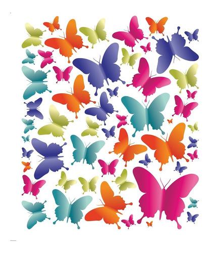 adesivo de parede infantil quarto menina borboletas 55un.