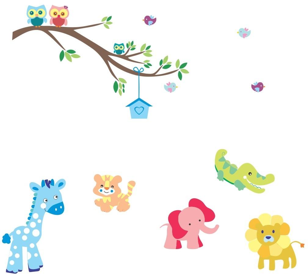 Adesivo De Parede Infantil Zoo Safari Bichinhos Coruja R$ 85,90 em Mercado Livre