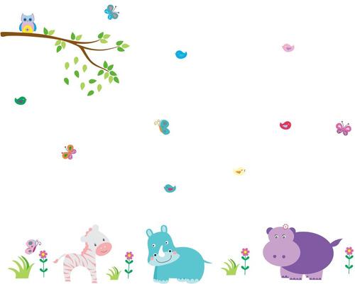 Aparador Estreito Para Sala ~ Adesivo De Parede Infantil Zoo Safari Bichinhos Coruja R