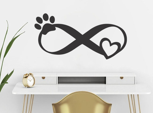 adesivo de parede infinito amor coração animal cachorro gato