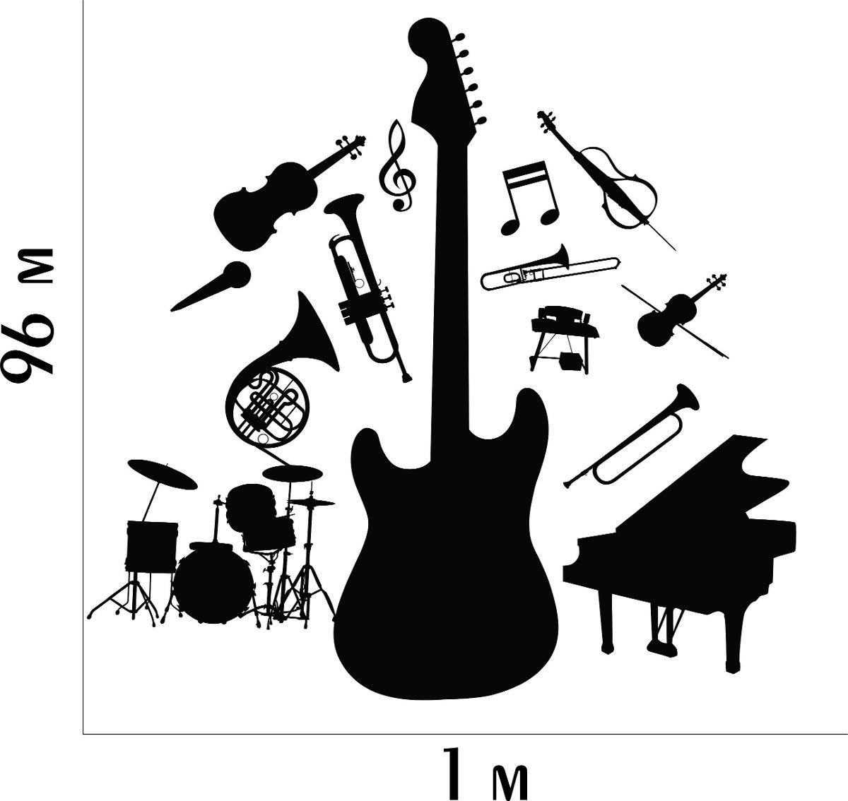Artesanato Feltro Passo A Passo ~ Adesivo De Parede Instrumentos Musicais Música Viol u00e3o Notas R$ 49,99 em Mercado Livre