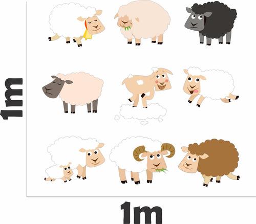 adesivo de parede kit ovelha quarto cabeceira infantil