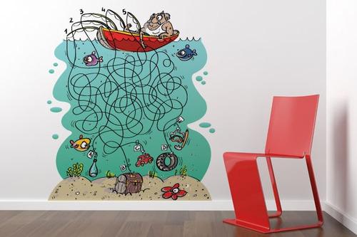 adesivo de parede labirinto pescaria - mudo minha casa