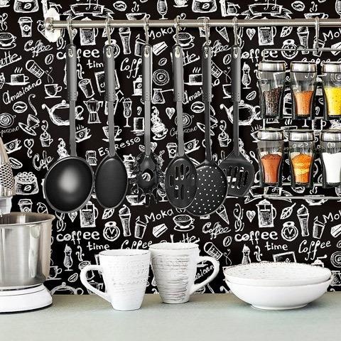 adesivo de parede lavável cozinha fundo preto 310x58cm