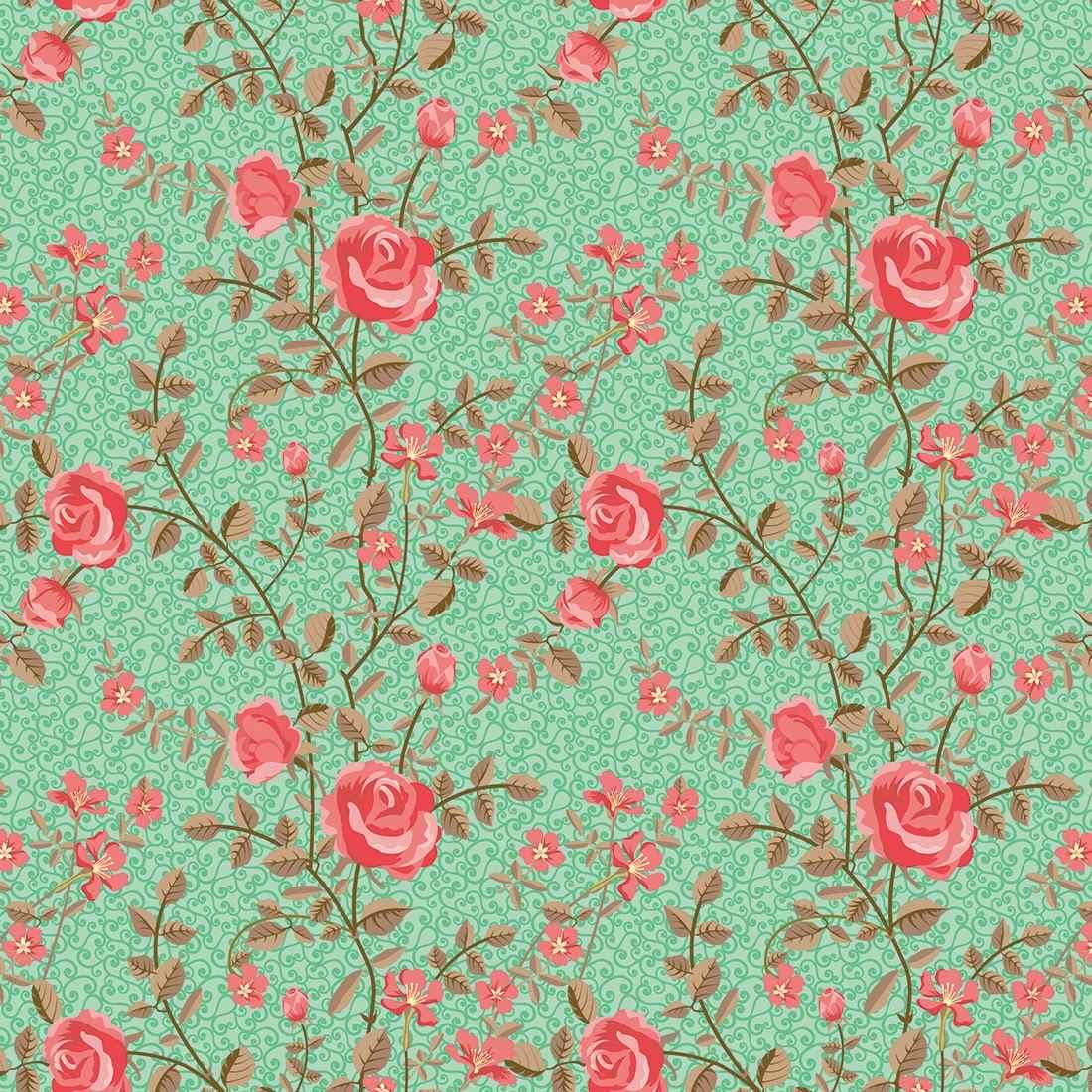 Loja Artesanato Zona Sul ~ Adesivo De Parede Lavável Floral Com Arabesco E Fundo Verde R$ 59,00 em Mercado Livre