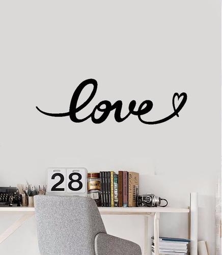 adesivo de parede love escrito caligrafia amor coração