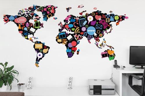 adesivo de parede mapa da net - mudo minha casa