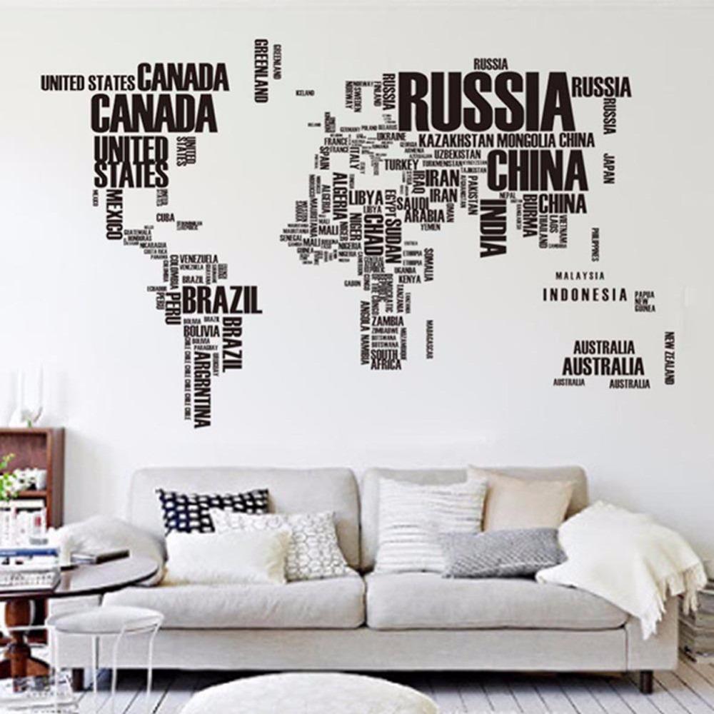 Adesivo De Parede Mapa Mundi 190x116cm Com Letras R$ 99