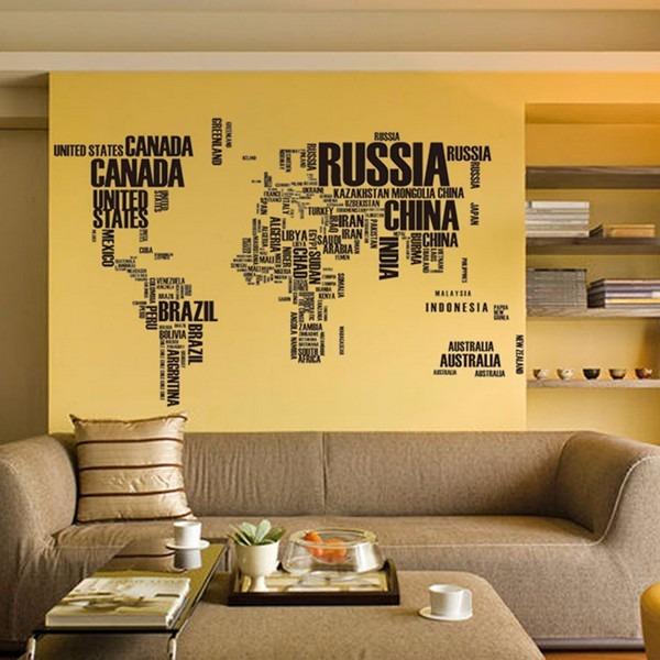 Adesivo De Parede Espelhado ~ Adesivo De Parede Mapa Mundi 190x116cm Com Letras R$ 99